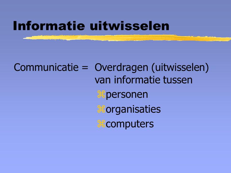 Informatie uitwisselen Communicatie =Overdragen (uitwisselen) van informatie tussen zpersonen zorganisaties zcomputers