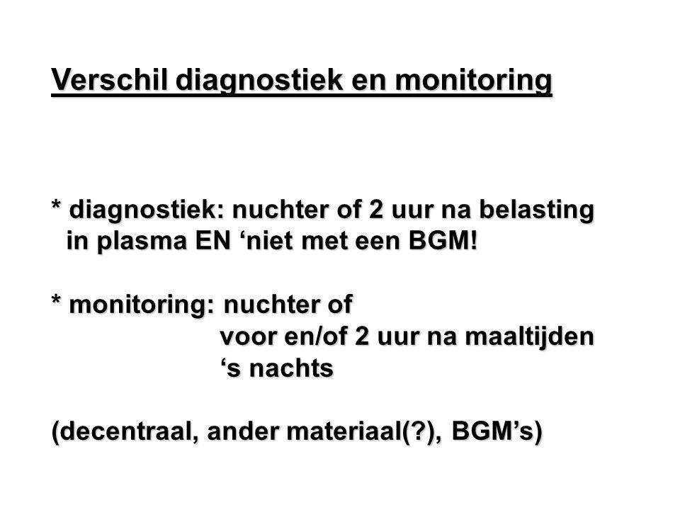 Verschil diagnostiek en monitoring * diagnostiek: nuchter of 2 uur na belasting in plasma EN 'niet met een BGM! in plasma EN 'niet met een BGM! * moni
