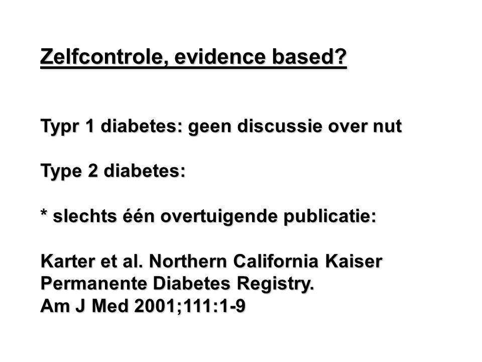 Zelfcontrole, evidence based? Typr 1 diabetes: geen discussie over nut Type 2 diabetes: * slechts één overtuigende publicatie: Karter et al. Northern