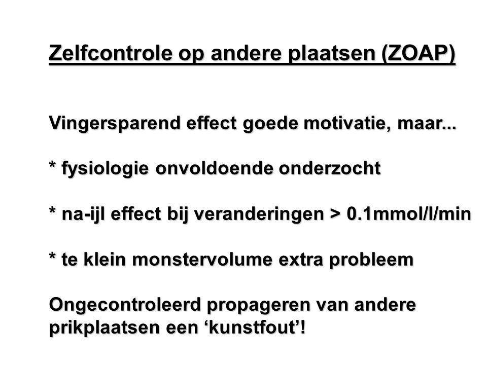 Zelfcontrole op andere plaatsen (ZOAP) Vingersparend effect goede motivatie, maar... * fysiologie onvoldoende onderzocht * na-ijl effect bij veranderi