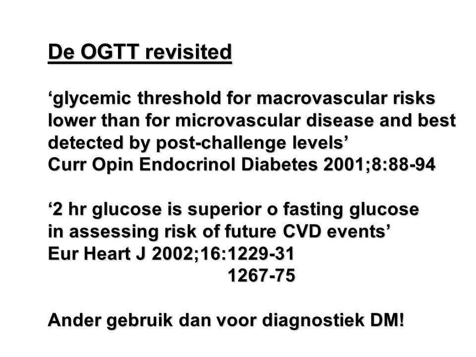De OGTT revisited 'glycemic threshold for macrovascular risks lower than for microvascular disease and best detected by post-challenge levels' Curr Opin Endocrinol Diabetes 2001;8:88-94 '2 hr glucose is superior o fasting glucose in assessing risk of future CVD events' Eur Heart J 2002;16:1229-31 1267-75 1267-75 Ander gebruik dan voor diagnostiek DM!