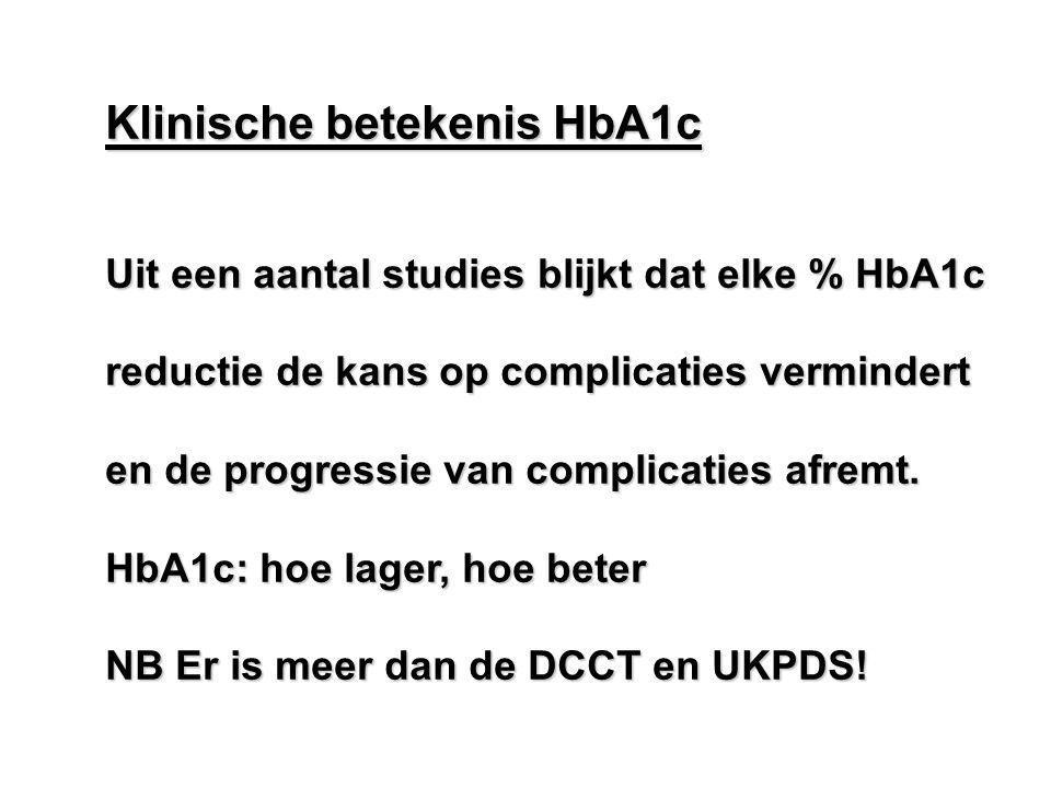 Klinische betekenis HbA1c Uit een aantal studies blijkt dat elke % HbA1c reductie de kans op complicaties vermindert en de progressie van complicaties