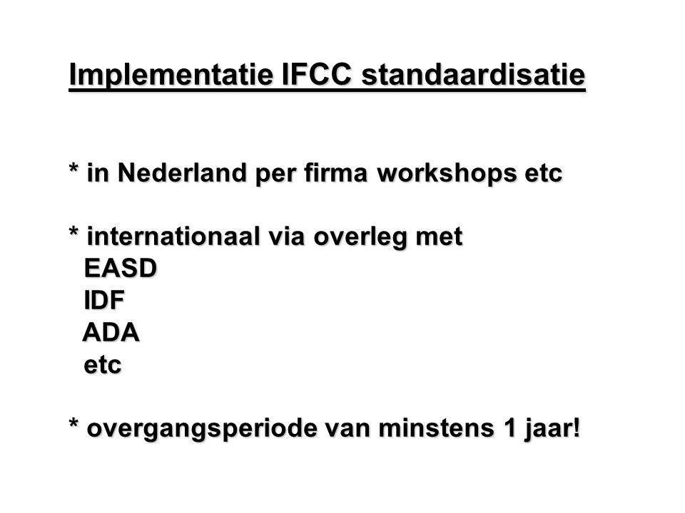 Implementatie IFCC standaardisatie * in Nederland per firma workshops etc * internationaal via overleg met EASD EASD IDF IDF ADA ADA etc etc * overgan