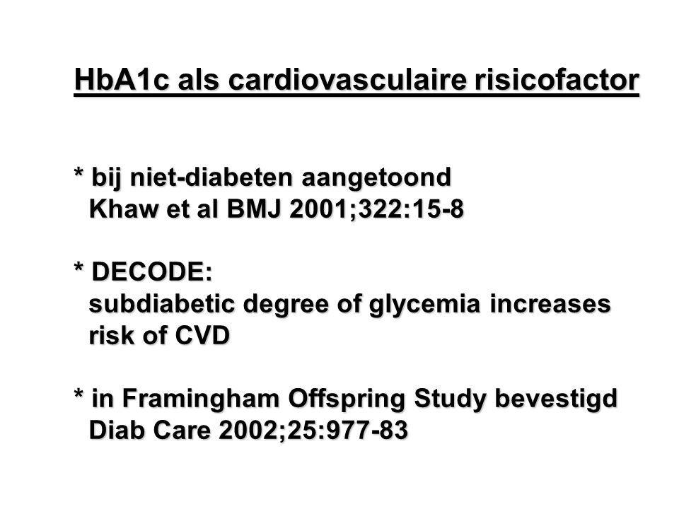 HbA1c als cardiovasculaire risicofactor * bij niet-diabeten aangetoond Khaw et al BMJ 2001;322:15-8 Khaw et al BMJ 2001;322:15-8 * DECODE: subdiabetic