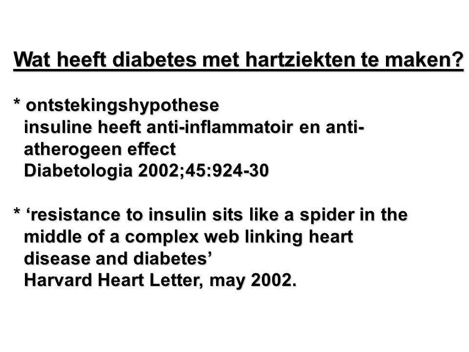 Wat heeft diabetes met hartziekten te maken? * ontstekingshypothese insuline heeft anti-inflammatoir en anti- insuline heeft anti-inflammatoir en anti
