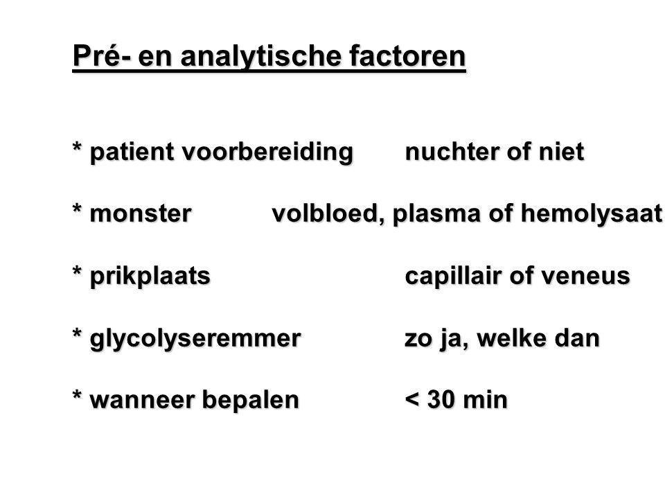 Pré- en analytische factoren * patient voorbereidingnuchter of niet * monstervolbloed, plasma of hemolysaat * prikplaatscapillair of veneus * glycolys