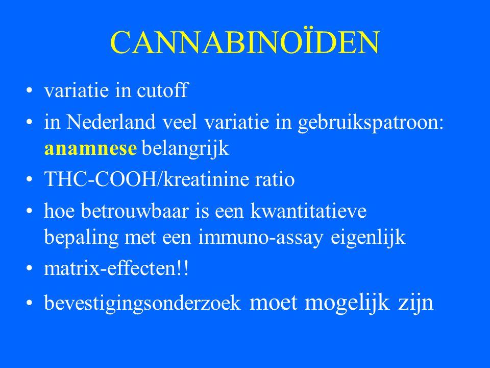 CANNABINOÏDEN variatie in cutoff in Nederland veel variatie in gebruikspatroon: anamnese belangrijk THC-COOH/kreatinine ratio hoe betrouwbaar is een k