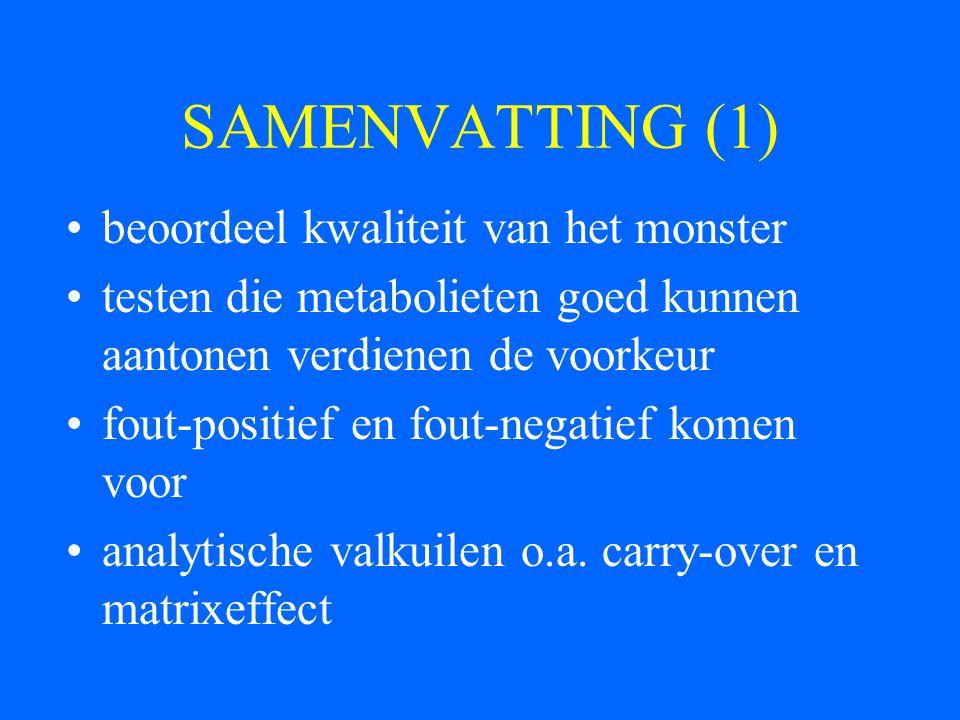 SAMENVATTING (1) beoordeel kwaliteit van het monster testen die metabolieten goed kunnen aantonen verdienen de voorkeur fout-positief en fout-negatief