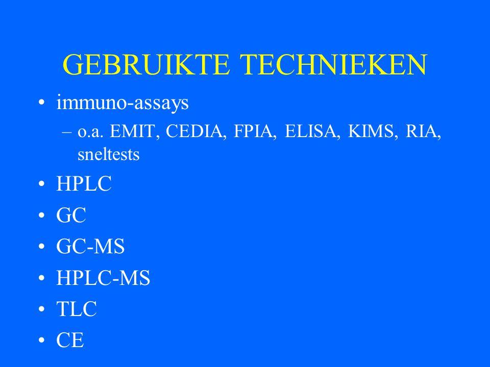 GEBRUIKTE TECHNIEKEN immuno-assays –o.a. EMIT, CEDIA, FPIA, ELISA, KIMS, RIA, sneltests HPLC GC GC-MS HPLC-MS TLC CE