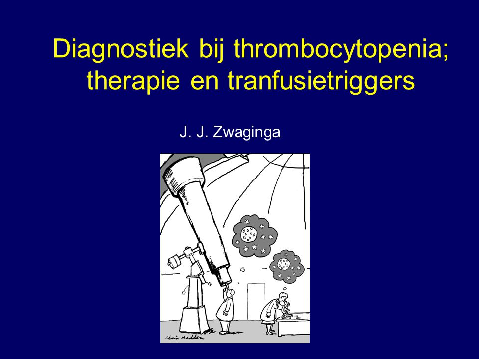 Diagnostiek bij thrombocytopenia; therapie en tranfusietriggers J. J. Zwaginga met dank aan: Karel Nieuwenhuis Vera Novotny Jean-Louis Kerkhoffs