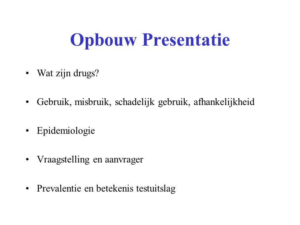 Opbouw Presentatie Wat zijn drugs? Gebruik, misbruik, schadelijk gebruik, afhankelijkheid Epidemiologie Vraagstelling en aanvrager Prevalentie en bete