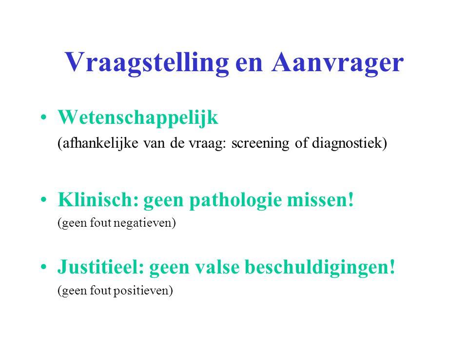 Wetenschappelijk (afhankelijke van de vraag: screening of diagnostiek) Klinisch: geen pathologie missen! (geen fout negatieven) Justitieel: geen valse