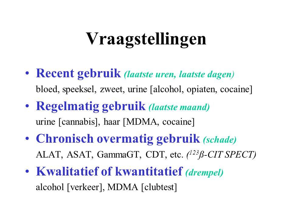 Vraagstellingen Recent gebruik (laatste uren, laatste dagen) bloed, speeksel, zweet, urine [alcohol, opiaten, cocaine] Regelmatig gebruik (laatste maa