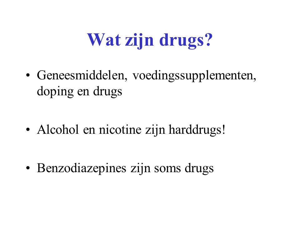 Geneesmiddelen, voedingssupplementen, doping en drugs Alcohol en nicotine zijn harddrugs! Benzodiazepines zijn soms drugs