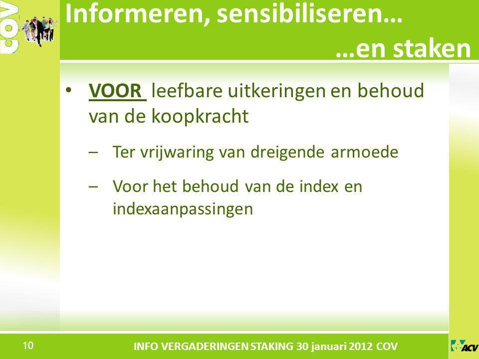 Klik om de stijl te bewerken INFO VERGADERINGEN STAKING 30 januari 2012 COV VOOR leefbare uitkeringen en behoud van de koopkracht –Ter vrijwaring van