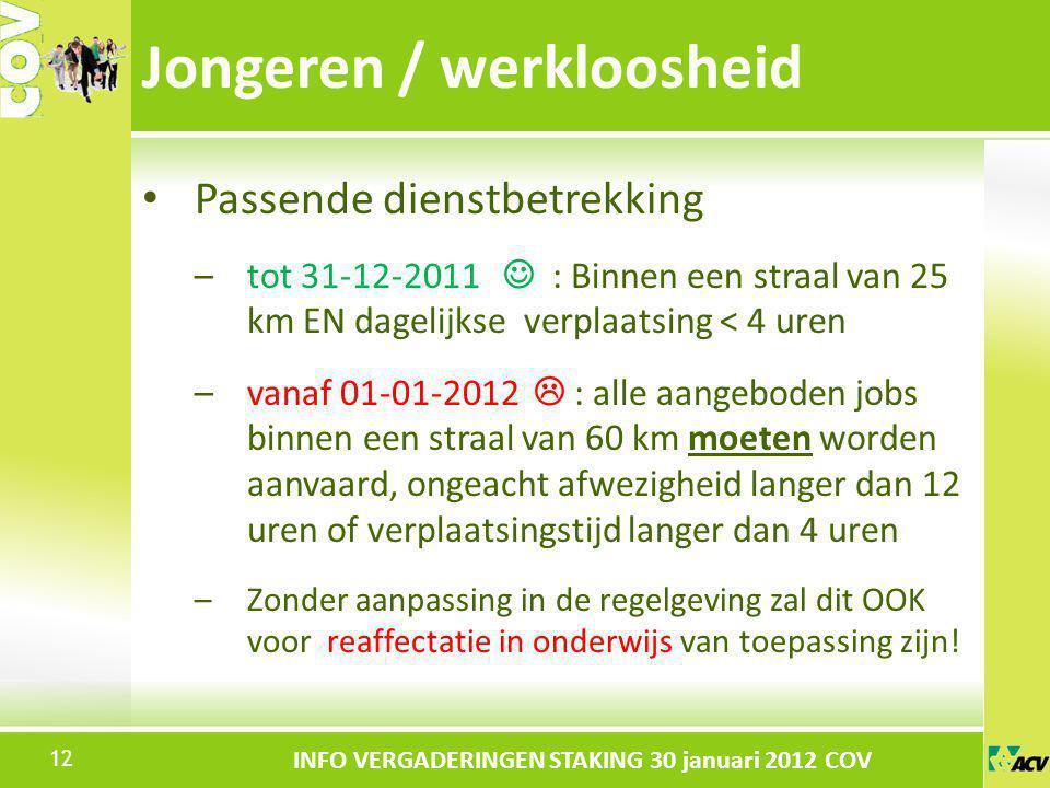 Klik om de stijl te bewerken INFO VERGADERINGEN STAKING 30 januari 2012 COV Passende dienstbetrekking –tot 31-12-2011 : Binnen een straal van 25 km EN