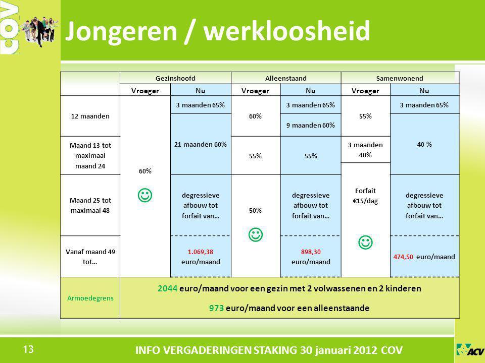 Klik om de stijl te bewerken INFO VERGADERINGEN STAKING 30 januari 2012 COV Jongeren / werkloosheid 13 GezinshoofdAlleenstaandSamenwonend VroegerNuVro