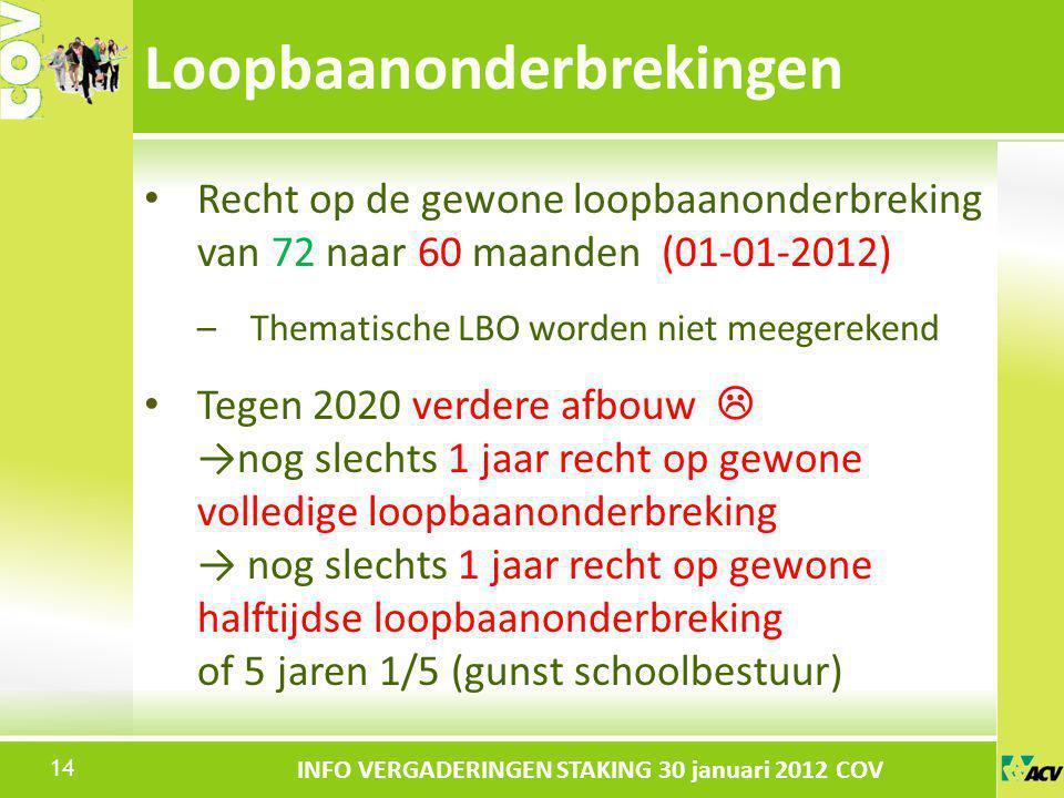 Klik om de stijl te bewerken INFO VERGADERINGEN STAKING 30 januari 2012 COV Recht op de gewone loopbaanonderbreking van 72 naar 60 maanden (01-01-2012