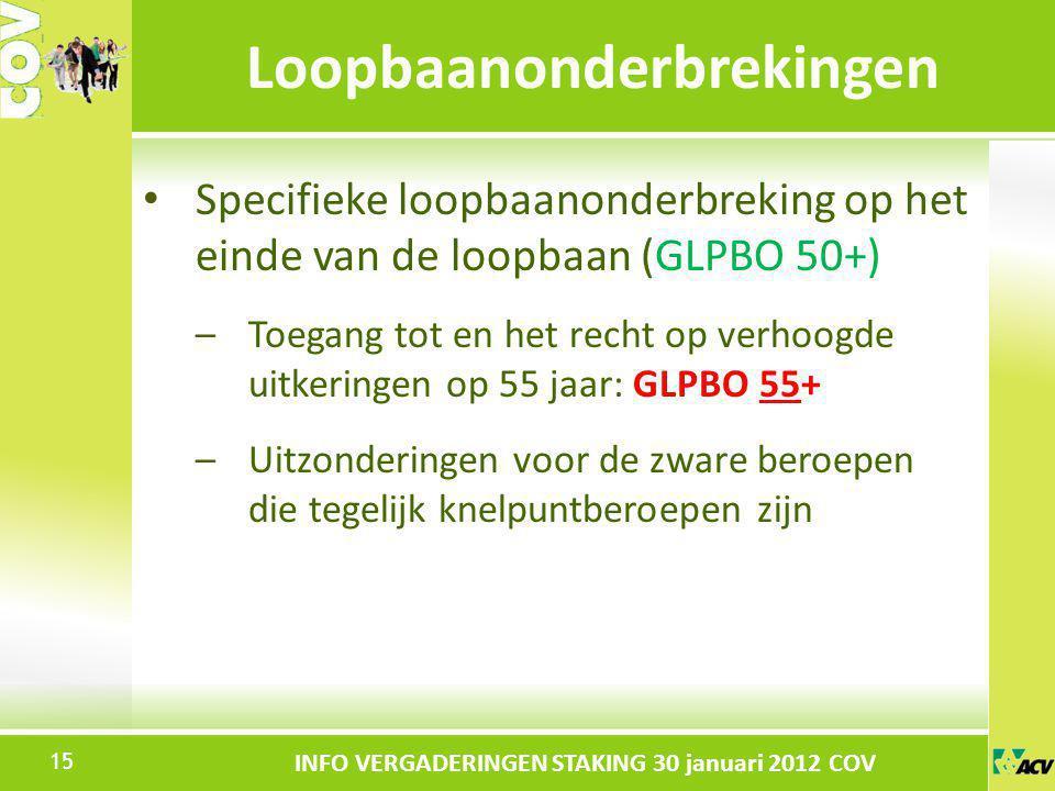 Klik om de stijl te bewerken INFO VERGADERINGEN STAKING 30 januari 2012 COV Specifieke loopbaanonderbreking op het einde van de loopbaan (GLPBO 50+) –