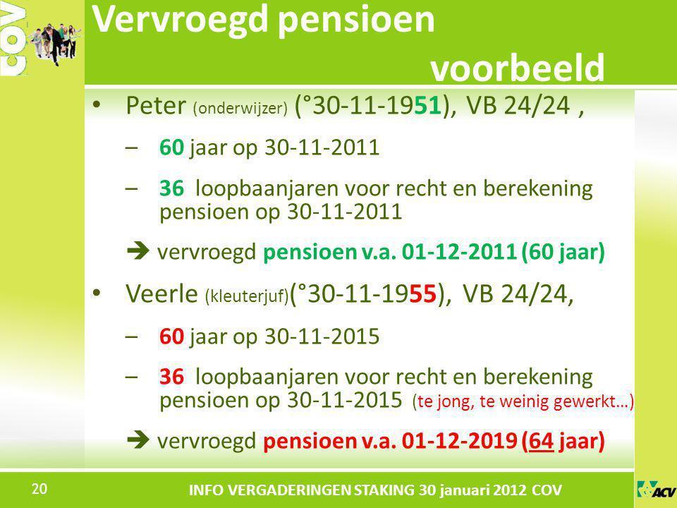 Klik om de stijl te bewerken INFO VERGADERINGEN STAKING 30 januari 2012 COV Peter (onderwijzer) (°30-11-1951), VB 24/24, –60 jaar op 30-11-2011 –36 lo