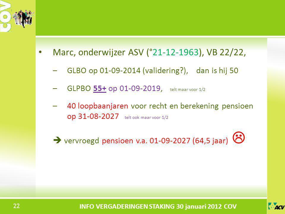 Klik om de stijl te bewerken INFO VERGADERINGEN STAKING 30 januari 2012 COV Marc, onderwijzer ASV (°21-12-1963), VB 22/22, –GLBO op 01-09-2014 (valide