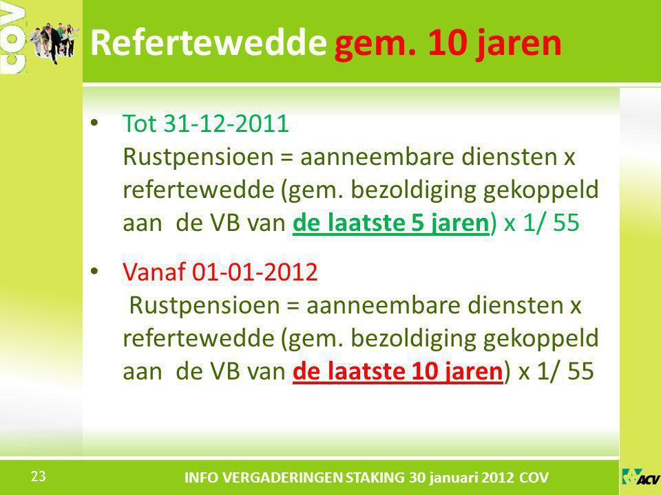 Klik om de stijl te bewerken INFO VERGADERINGEN STAKING 30 januari 2012 COV Tot 31-12-2011 Rustpensioen = aanneembare diensten x refertewedde (gem. be