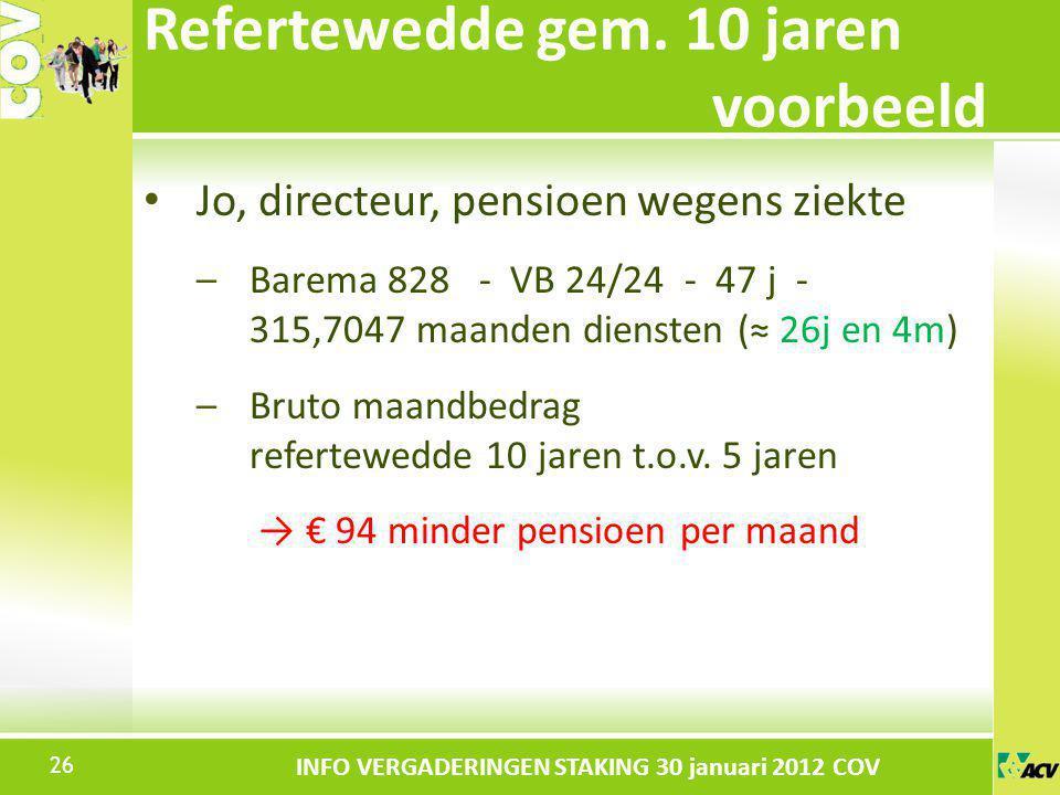 Klik om de stijl te bewerken INFO VERGADERINGEN STAKING 30 januari 2012 COV Jo, directeur, pensioen wegens ziekte –Barema 828 - VB 24/24 - 47 j - 315,