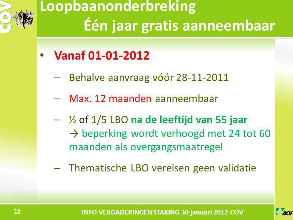 Klik om de stijl te bewerken INFO VERGADERINGEN STAKING 30 januari 2012 COV Vanaf 01-01-2012 –Behalve aanvraag vóór 28-11-2011 –Max. 12 maanden aannee