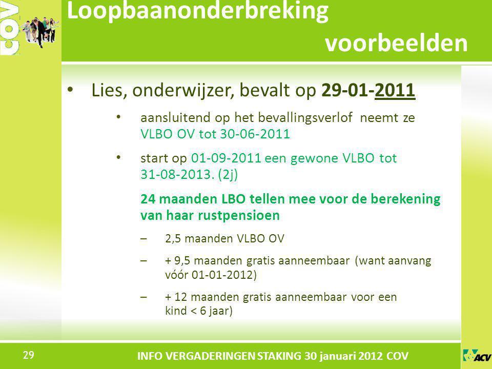 Klik om de stijl te bewerken INFO VERGADERINGEN STAKING 30 januari 2012 COV Lies, onderwijzer, bevalt op 29-01-2011 aansluitend op het bevallingsverlo