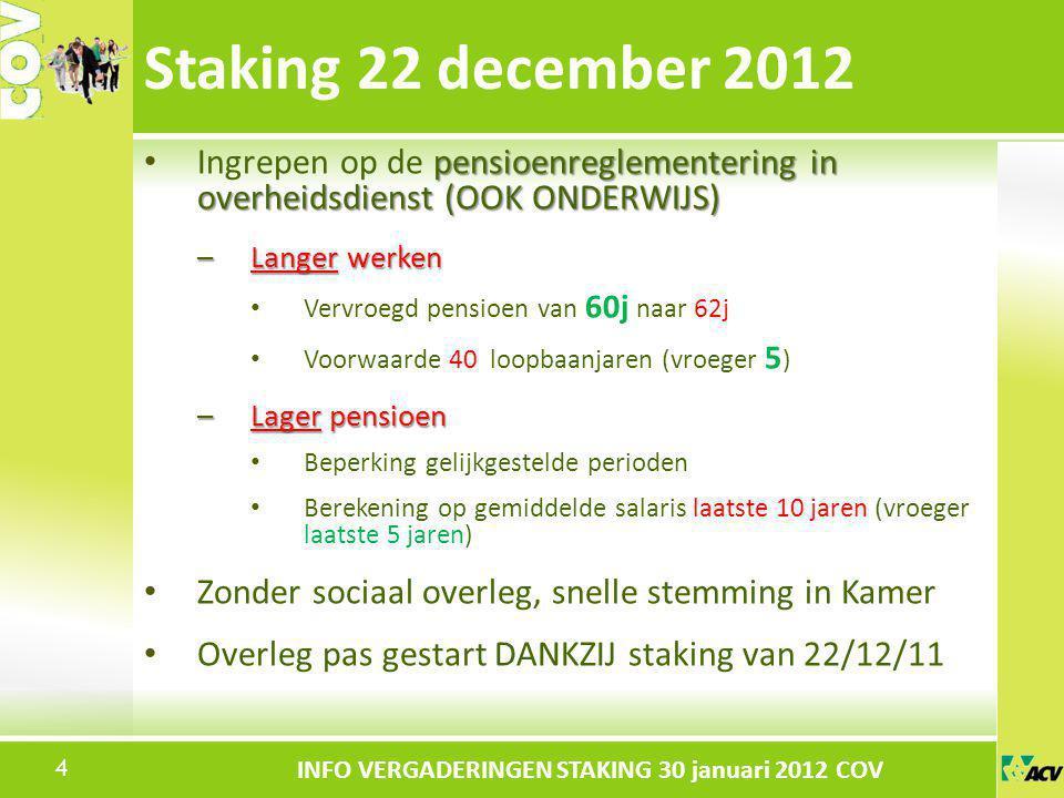 Klik om de stijl te bewerken INFO VERGADERINGEN STAKING 30 januari 2012 COV pensioenreglementering in overheidsdienst (OOK ONDERWIJS) Ingrepen op de p