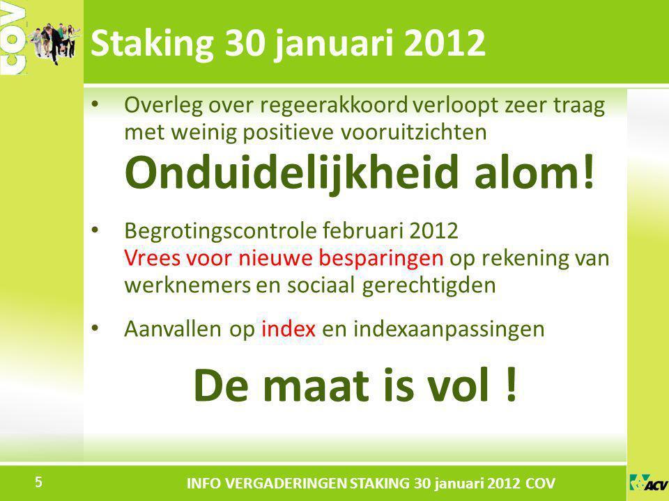 Klik om de stijl te bewerken INFO VERGADERINGEN STAKING 30 januari 2012 COV Overleg over regeerakkoord verloopt zeer traag met weinig positieve voorui