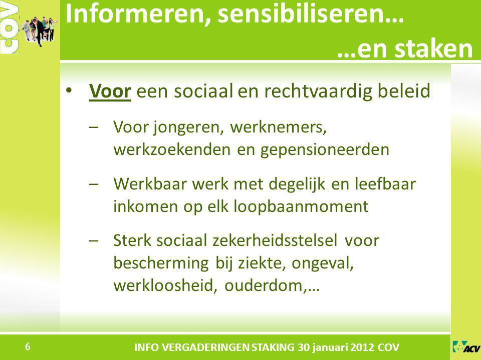 Klik om de stijl te bewerken INFO VERGADERINGEN STAKING 30 januari 2012 COV Voor een sociaal en rechtvaardig beleid –Voor jongeren, werknemers, werkzo
