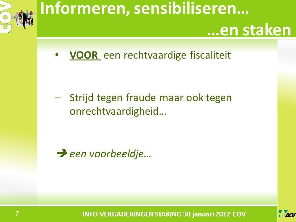 Klik om de stijl te bewerken INFO VERGADERINGEN STAKING 30 januari 2012 COV VOOR een rechtvaardige fiscaliteit –Strijd tegen fraude maar ook tegen onr