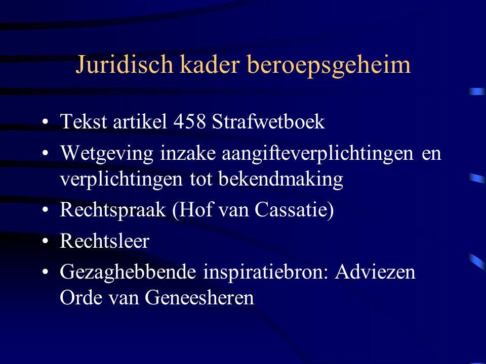 Juridisch kader beroepsgeheim Tekst artikel 458 Strafwetboek Wetgeving inzake aangifteverplichtingen en verplichtingen tot bekendmaking Rechtspraak (Hof van Cassatie) Rechtsleer Gezaghebbende inspiratiebron: Adviezen Orde van Geneesheren