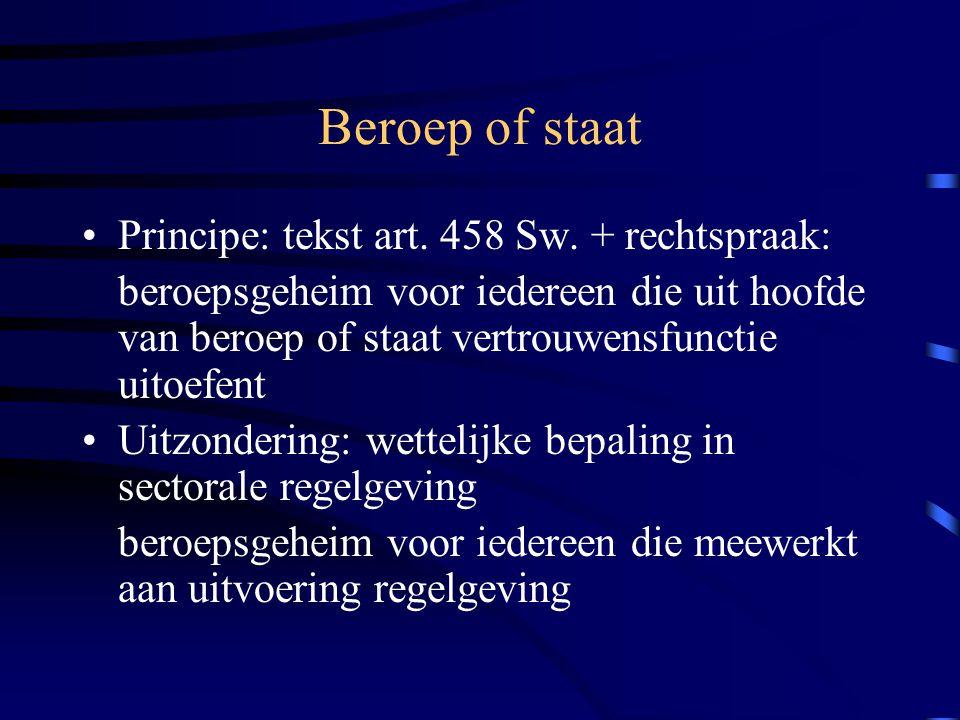 Beroep of staat Principe: tekst art.458 Sw.