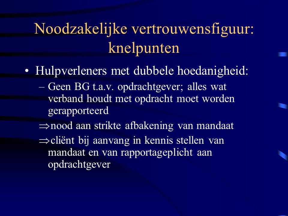 Noodzakelijke vertrouwensfiguur: knelpunten Hulpverleners met dubbele hoedanigheid: –Geen BG t.a.v.