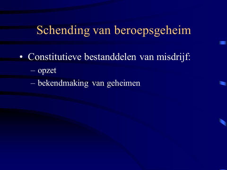 Schending van beroepsgeheim Constitutieve bestanddelen van misdrijf: –opzet –bekendmaking van geheimen