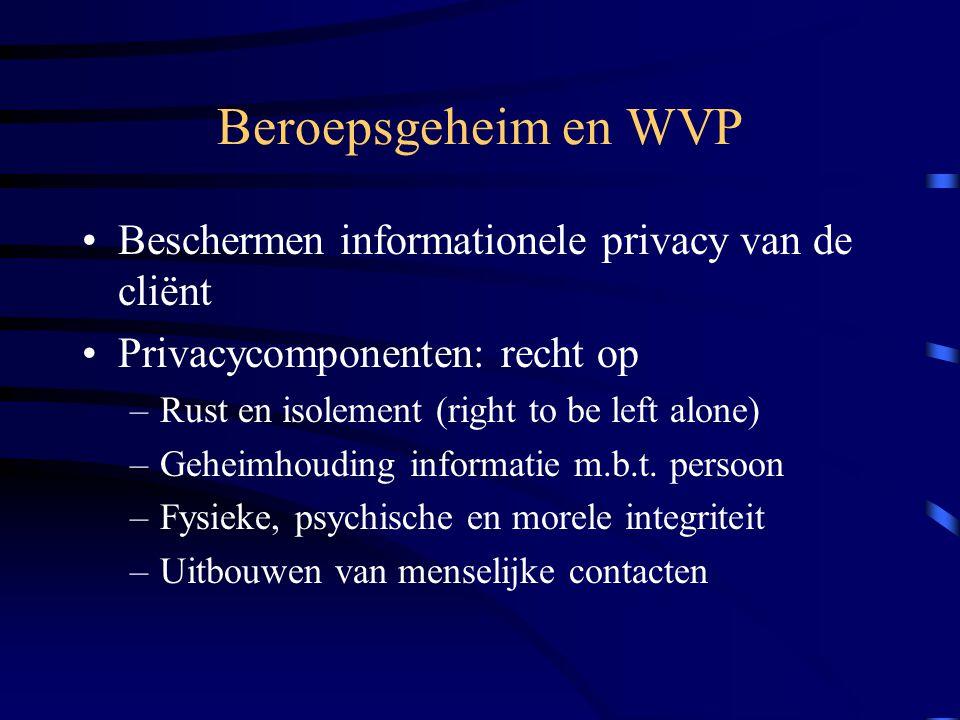 Beroepsgeheim en WVP Beschermen informationele privacy van de cliënt Privacycomponenten: recht op –Rust en isolement (right to be left alone) –Geheimhouding informatie m.b.t.