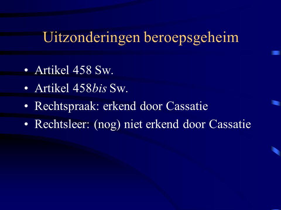 Uitzonderingen beroepsgeheim Artikel 458 Sw.Artikel 458bis Sw.