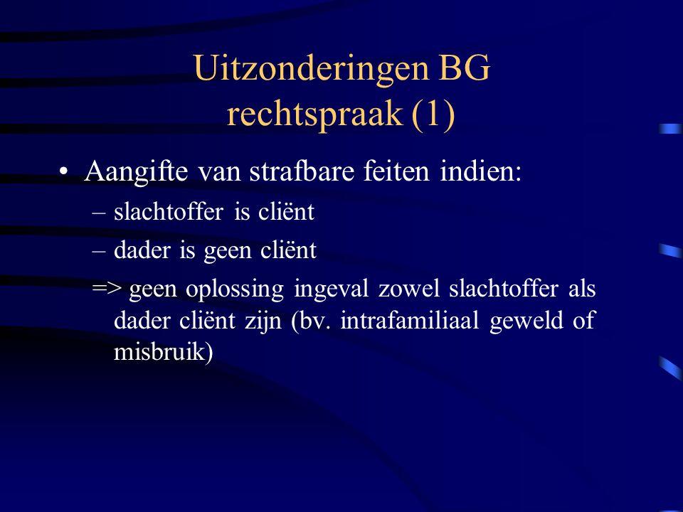 Uitzonderingen BG rechtspraak (1) Aangifte van strafbare feiten indien: –slachtoffer is cliënt –dader is geen cliënt => geen oplossing ingeval zowel slachtoffer als dader cliënt zijn (bv.