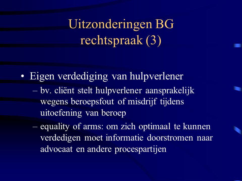 Uitzonderingen BG rechtspraak (3) Eigen verdediging van hulpverlener –bv.
