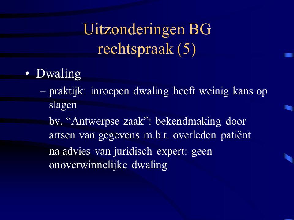 Uitzonderingen BG rechtspraak (5) Dwaling –praktijk: inroepen dwaling heeft weinig kans op slagen bv.