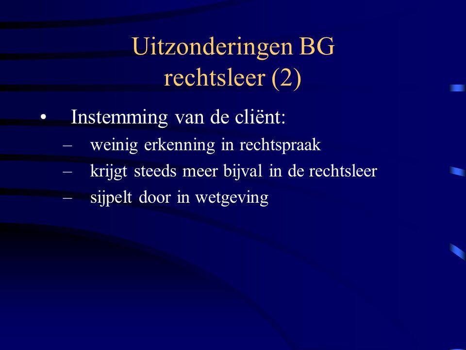 Uitzonderingen BG rechtsleer (2) Instemming van de cliënt: –weinig erkenning in rechtspraak –krijgt steeds meer bijval in de rechtsleer –sijpelt door in wetgeving