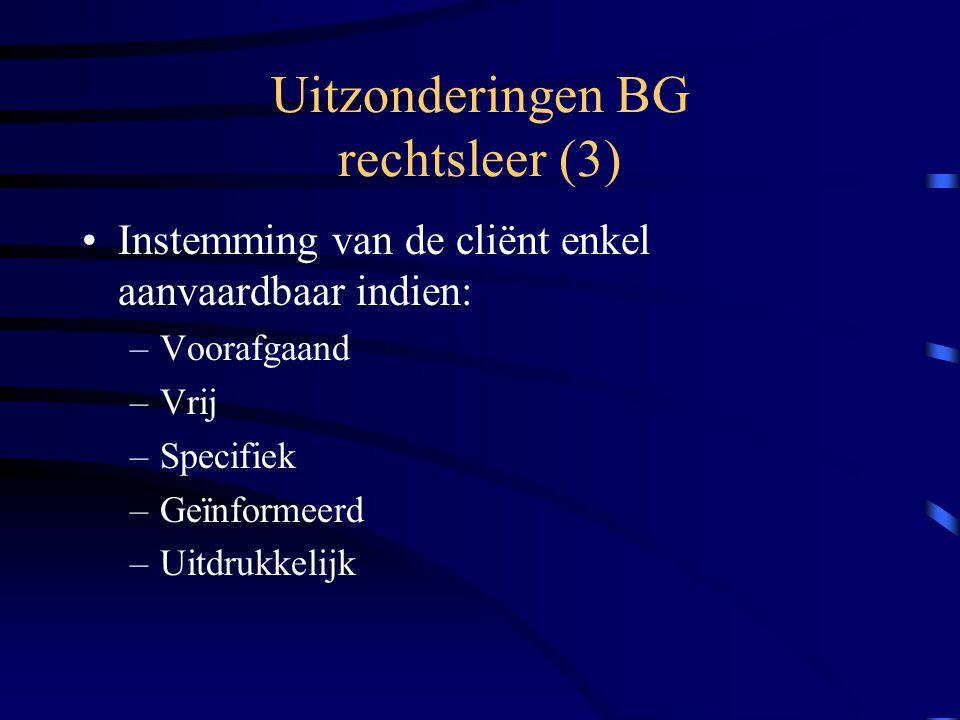 Uitzonderingen BG rechtsleer (3) Instemming van de cliënt enkel aanvaardbaar indien: –Voorafgaand –Vrij –Specifiek –Geïnformeerd –Uitdrukkelijk