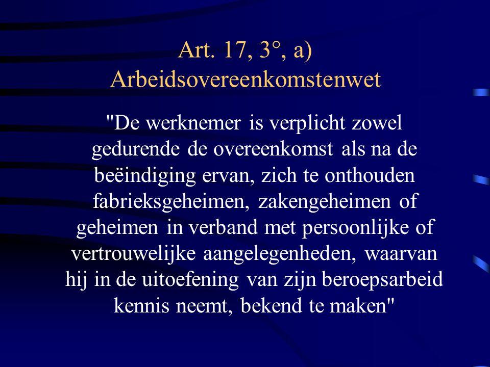 Art. 17, 3°, a) Arbeidsovereenkomstenwet
