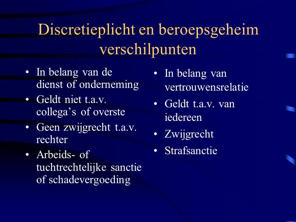Discretieplicht en beroepsgeheim verschilpunten In belang van de dienst of onderneming Geldt niet t.a.v.