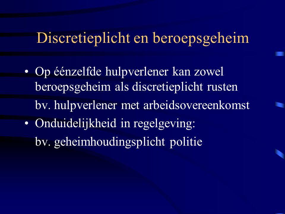 Noodzakelijke vertrouwensfiguur: knelpunten Ondersteunend personeel (secretariaat, onderhoudspersoneel…): –soms vertrouwensfiguur maar NOOIT noodzakelijke vertrouwensfiguur => geen beroepsgeheim, wel discretieplicht => geen zwijgrecht voor rechter: informatiestroom tot minimum beperken –uitz.: BG in bijzondere wettelijke bepaling