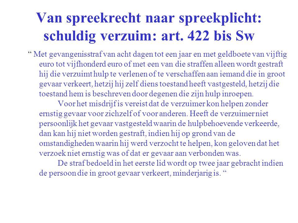 """Van spreekrecht naar spreekplicht: schuldig verzuim: art. 422 bis Sw """" Met gevangenisstraf van acht dagen tot een jaar en met geldboete van vijftig eu"""