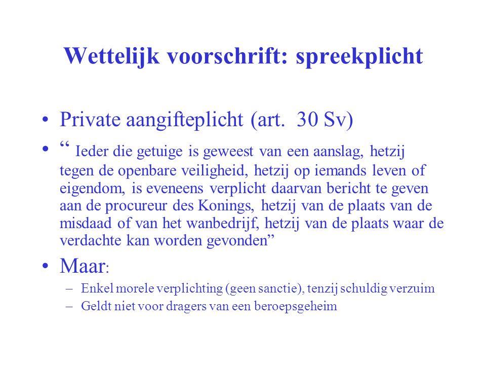 """Wettelijk voorschrift: spreekplicht Private aangifteplicht (art. 30 Sv) """" Ieder die getuige is geweest van een aanslag, hetzij tegen de openbare veili"""