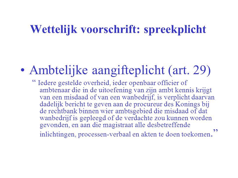 """Wettelijk voorschrift: spreekplicht Ambtelijke aangifteplicht (art. 29) """" Iedere gestelde overheid, ieder openbaar officier of ambtenaar die in de uit"""
